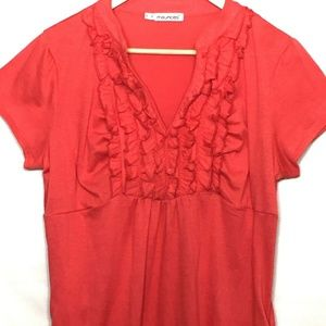 Maurices Ruffle Front V-Neck Ruched Side Top